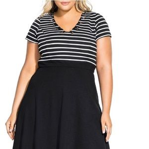 City chic Sailor black and white dress